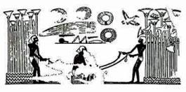 Här ses en inskription som visar hur de gamla egypterna tillverkade sina rep