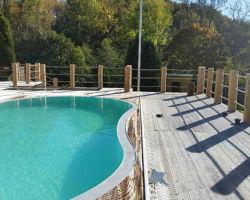 Exempel på användning av 36 mm tross som avspärrning för pool